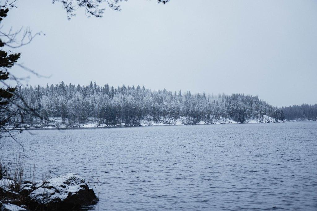 Etelä-Konneveden kansallispuistossa talvella. Enonrannassa satoi yöllä lunta.